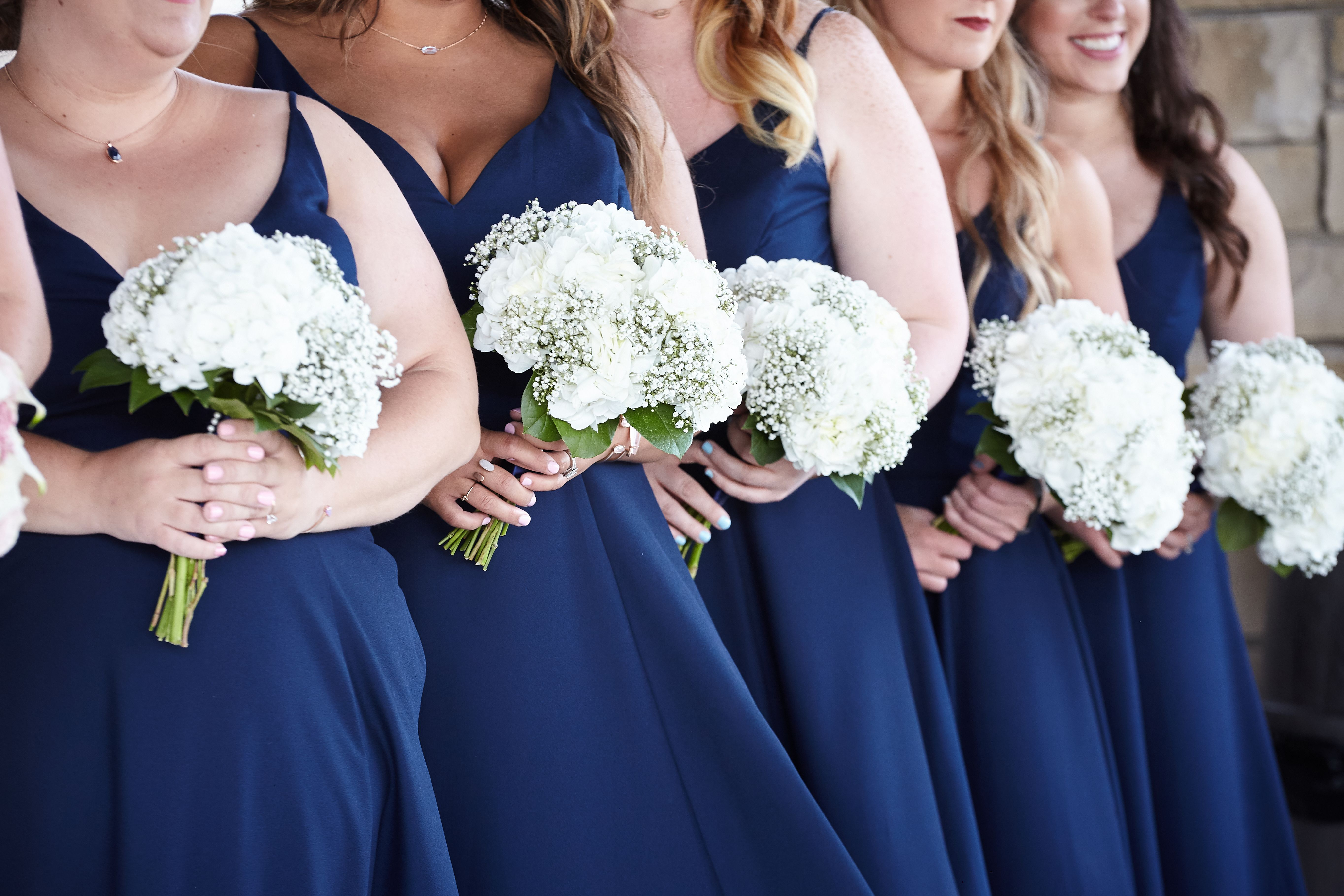 Benken Bridalparty Handtied Style With Hydrangeas Babysbreath And Other In Whites Ivory Cream Colors With Greenery Has Rhinestonew Bridal Party Flowers