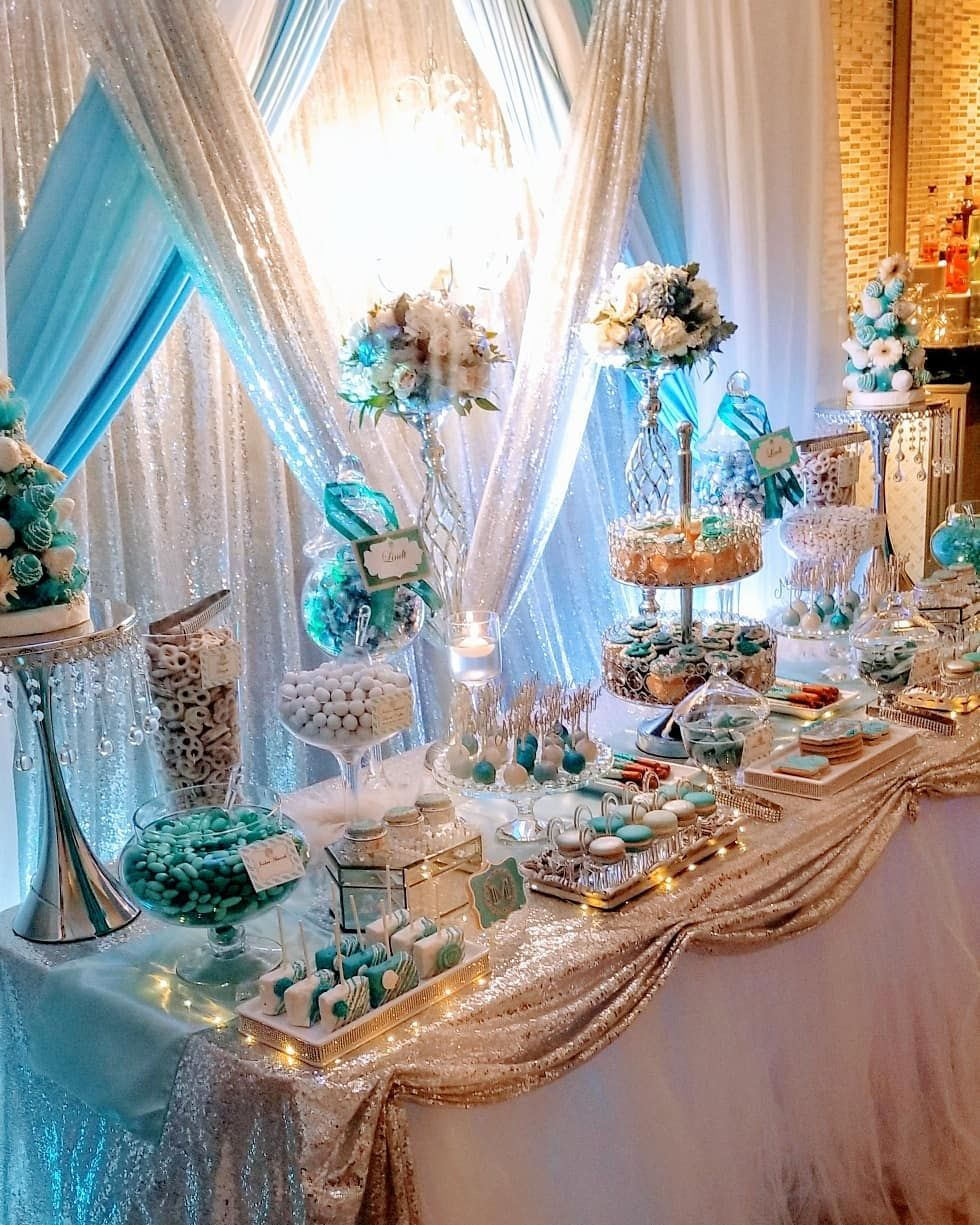"Eye Candy Buffets on Instagram: ""There you have it!  A 50 shades of blue, Bling-Glam Sweet Table we designed for a very lavish Sweet 16 event.  And yes, that is a…"" #sweet16cakes"