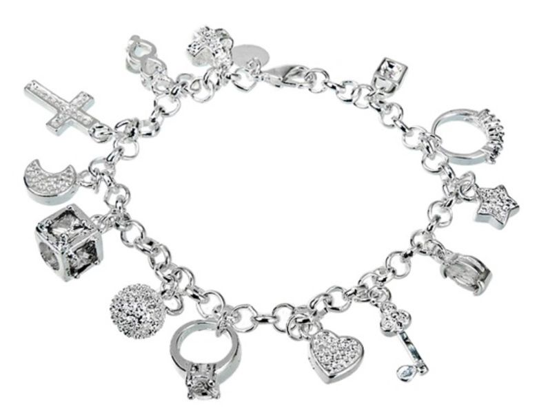 925 Silver Plated 13-Pendant Fashionable Bracelet