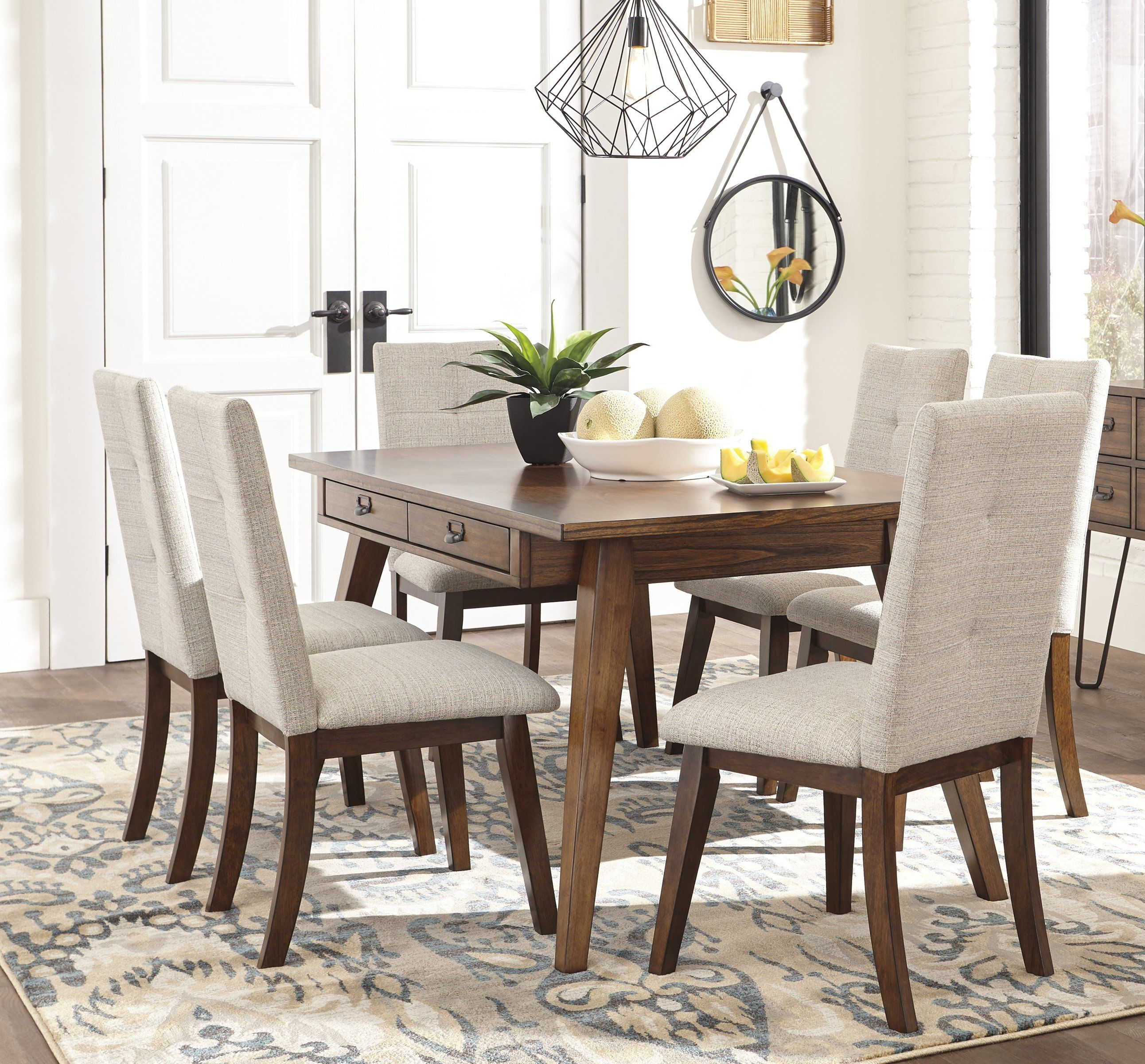 Signature Design By Ashley Centiar 7 Piece Dining Table Set With