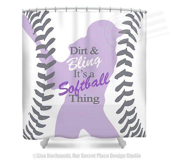 Girls Softball Shower Curtain Bathroom Decor Sports Theme Sh