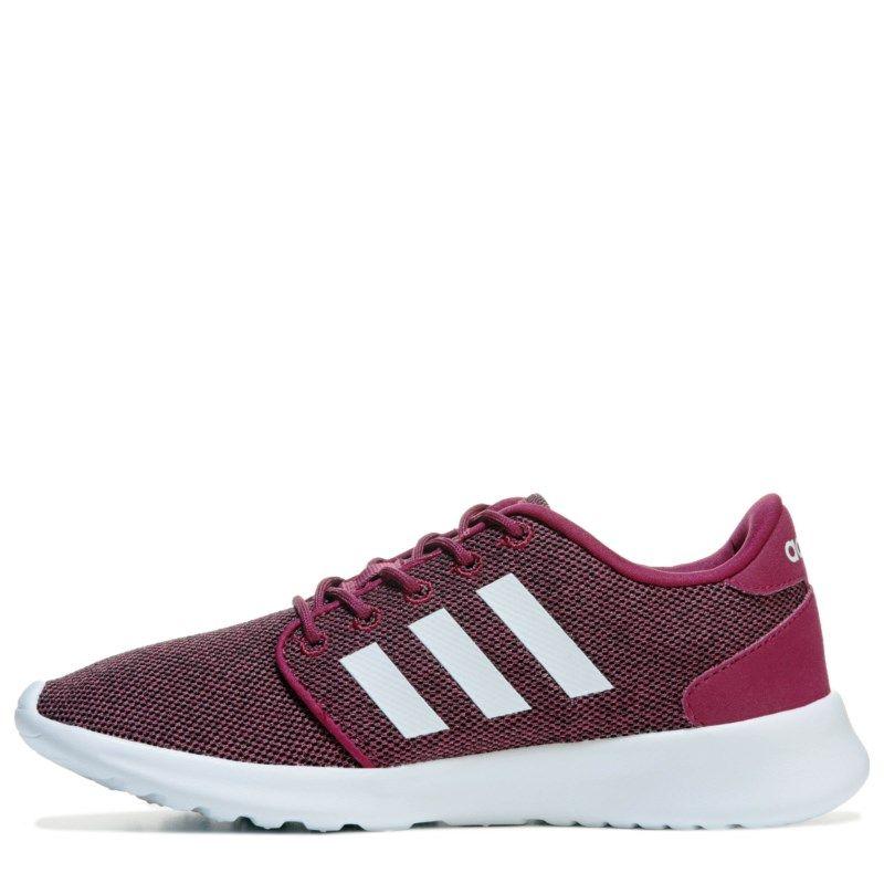 c17fb421e16375 Adidas Women s Neo Cloudfoam QT Racer Sneakers (Burgundy White)