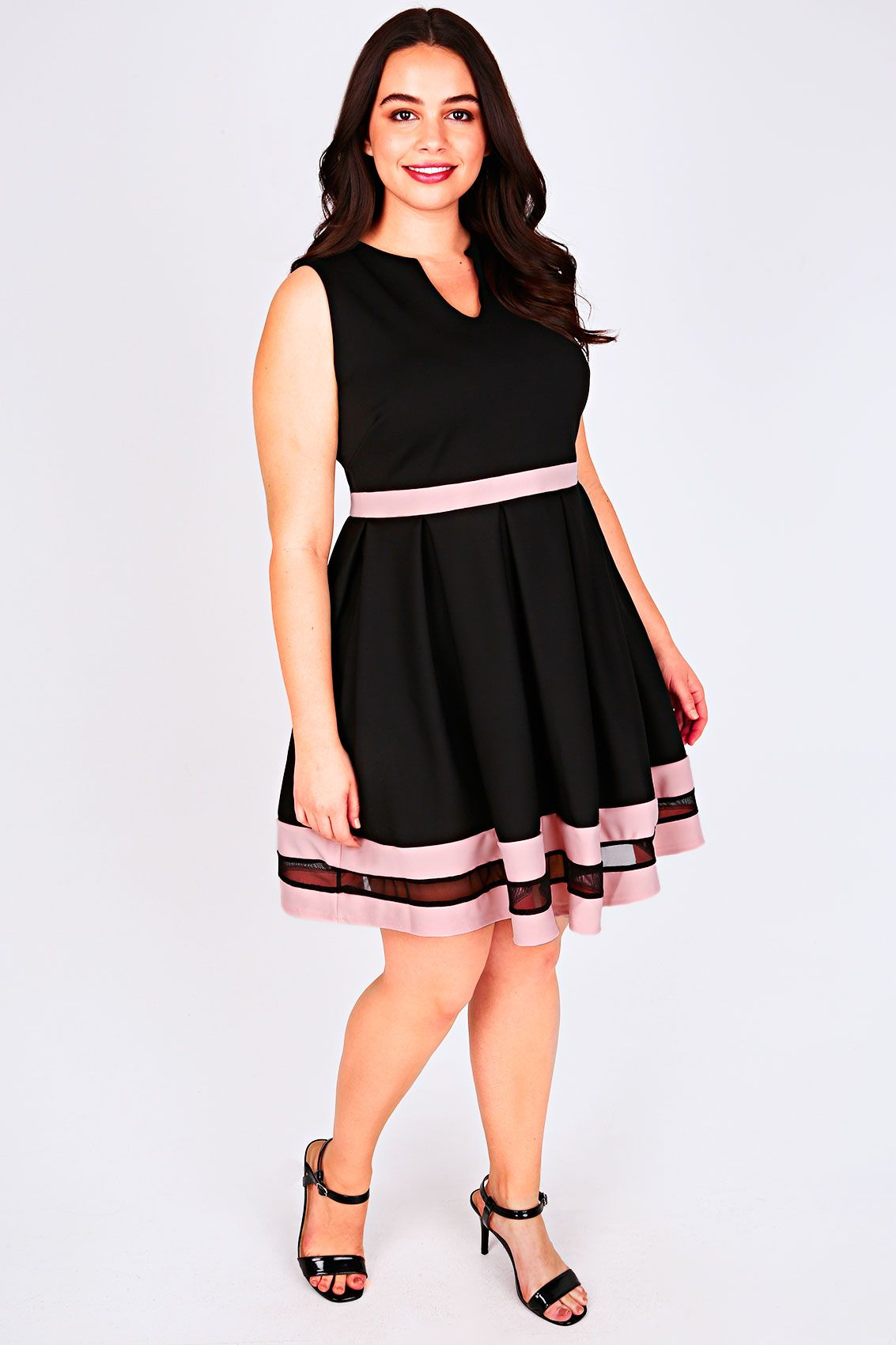Womens Mesh Stripe Skater Dress Yours Clothing JhU25y