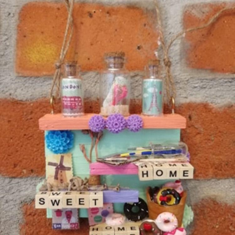 Miniregal HOME SWEET HOME, Geschenkeanhänger, Willkommensschild, Geschenkidee aus Kiefernholz