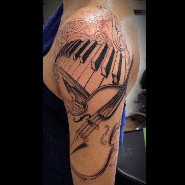 Guitar And Piano Keys Left Half Sleeve Tattoo Jpg 612 612 With
