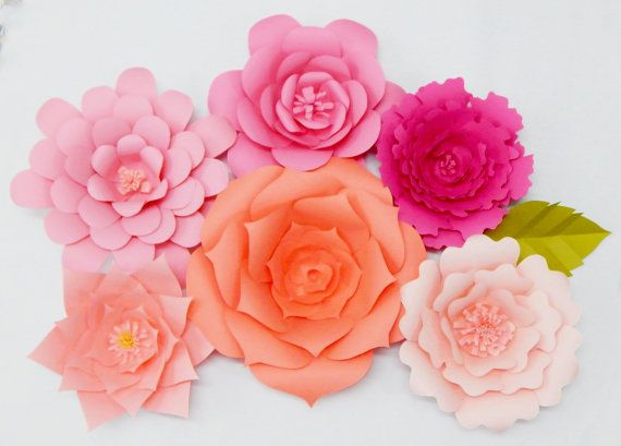 Large paper flowers set of 6 wall decor event decor wall dcor large paper flowers set of 6 wall decor event decor mightylinksfo
