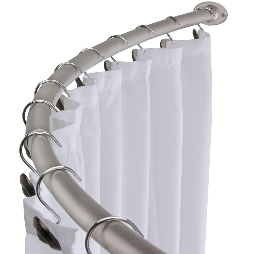 Brushed Nickel Curved Shower Curtain Rod Bath Area Bathtub ...