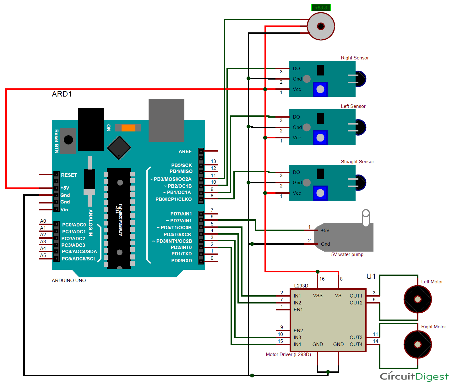 DIY Arduino based Fire Fighting Robot circuit diagram | Arduino ...