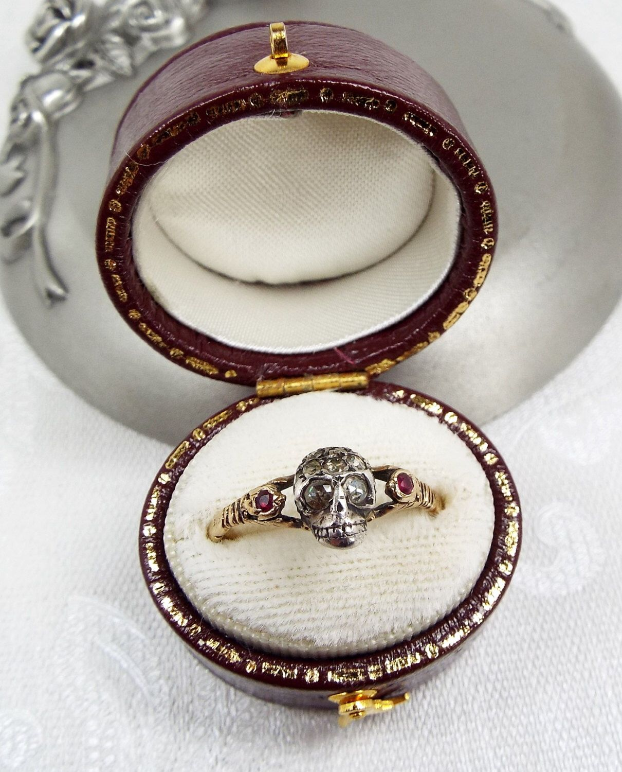 EXCEPTIONAL Antique Georgian 15ct Gold Rose Cut Diamond & Ruby Memonto Mori Skull Ring / Size N by DearRoseWithLove on Etsy https://www.etsy.com/listing/462526088/exceptional-antique-georgian-15ct-gold