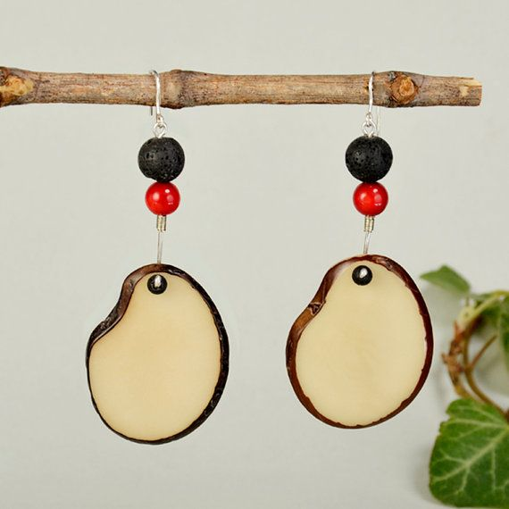 White tagua earrings chunky natural drops by ColorLatinoJewelry