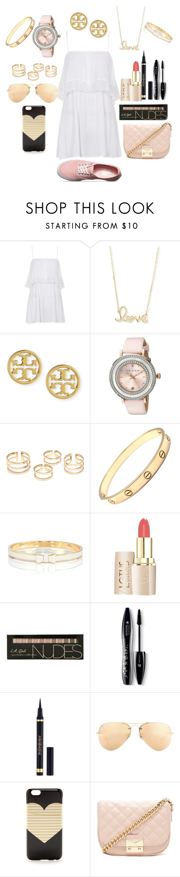 """""""Style the heat wave!"""" by sunglassesforstyle ❤ liked on Polyvore featuring Topshop, Sydney Evan, Tory Burch, Ted Baker, Cartier, Kate Spade, Lancôme, Ray-Ban, J.Crew and Forever 21"""