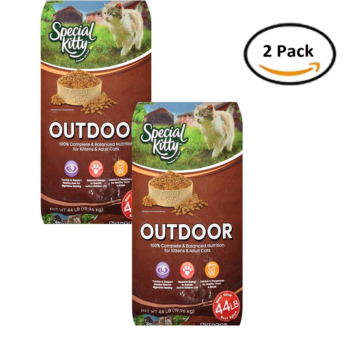 PACK OF 2 Special Kitty Outdoor Dry Cat Food 44 lb. Bag