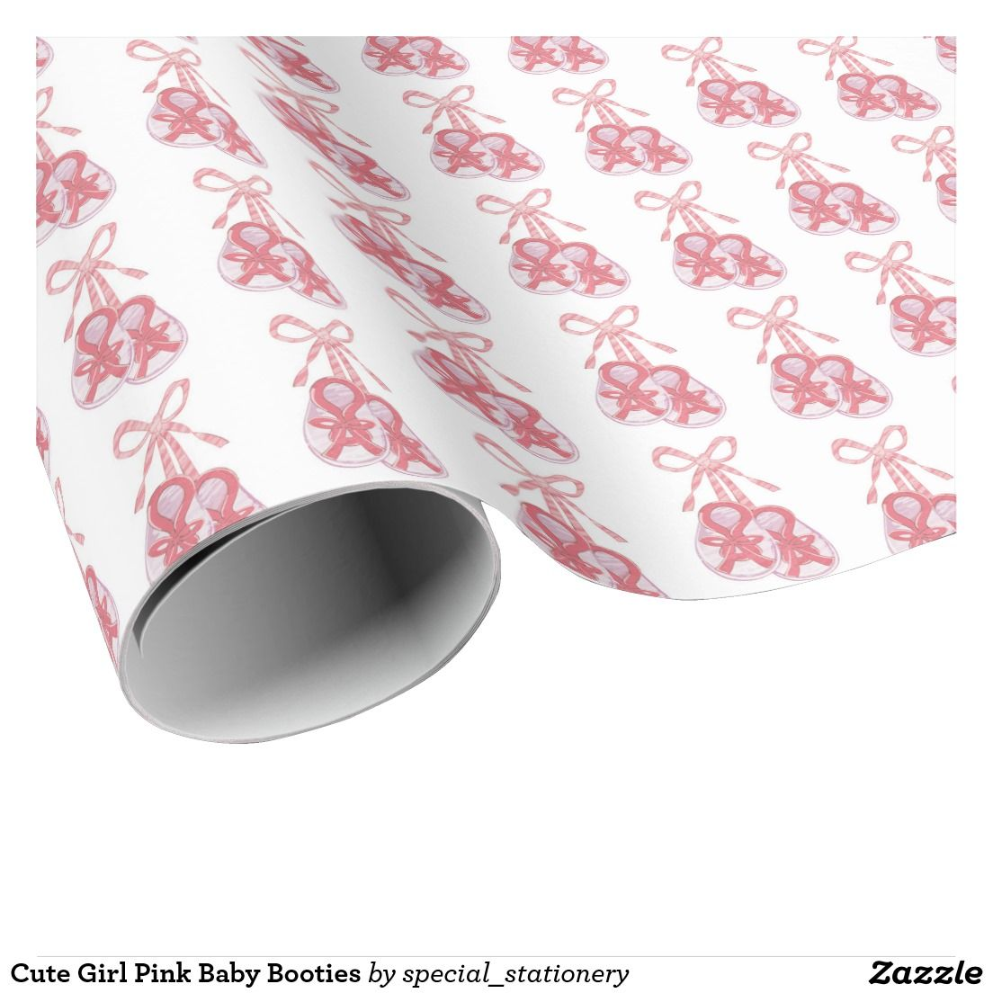 Cute Girl Pink Baby Booties Gift Wrap Paper