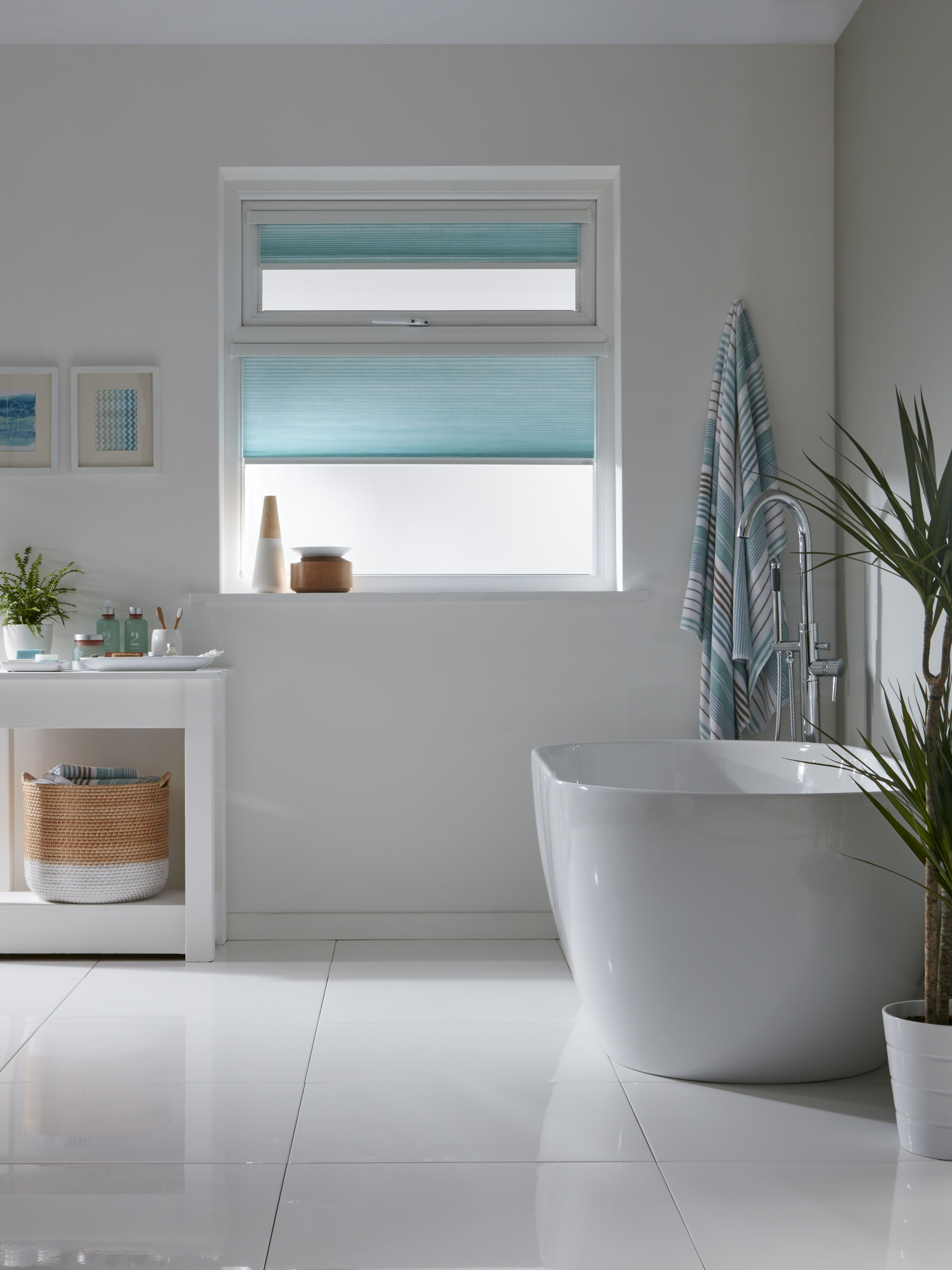 Intu bathroom blinds in aqua from Apollo Blinds. Made to ...
