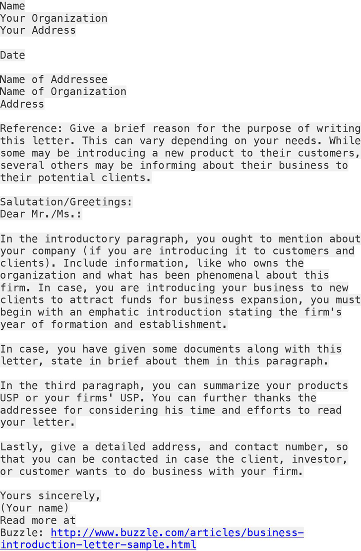 Free Business Introduction Letter Sample Docx Pdf Page Company