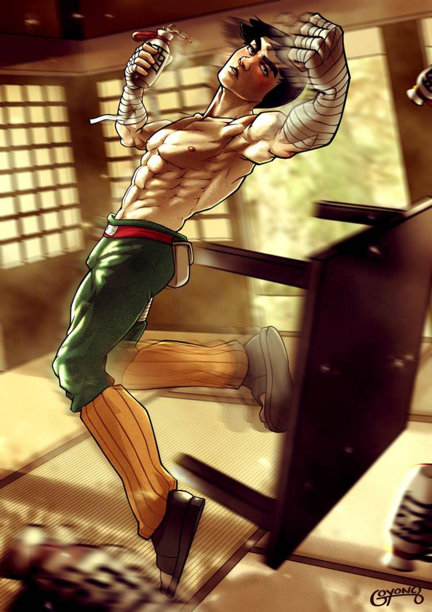 Shirtless Ninja Rock Lee by goyong on DeviantArt Rock