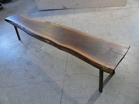 Making A Walnut Slab Bench Table With Bow Tie Inlay Rough Hewn Wood Walnut Slab Bench Wood Bench Outdoor