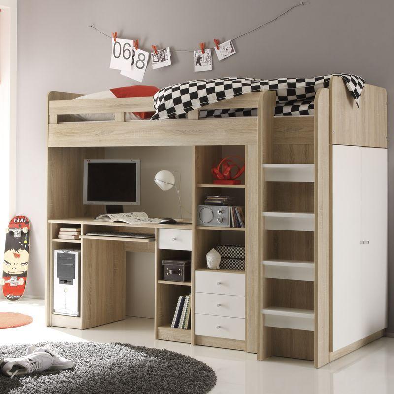jugendzimmer unit hochbett mit kleiderschrank 90x200 eiche sonoma wei hochbetten g nstig. Black Bedroom Furniture Sets. Home Design Ideas