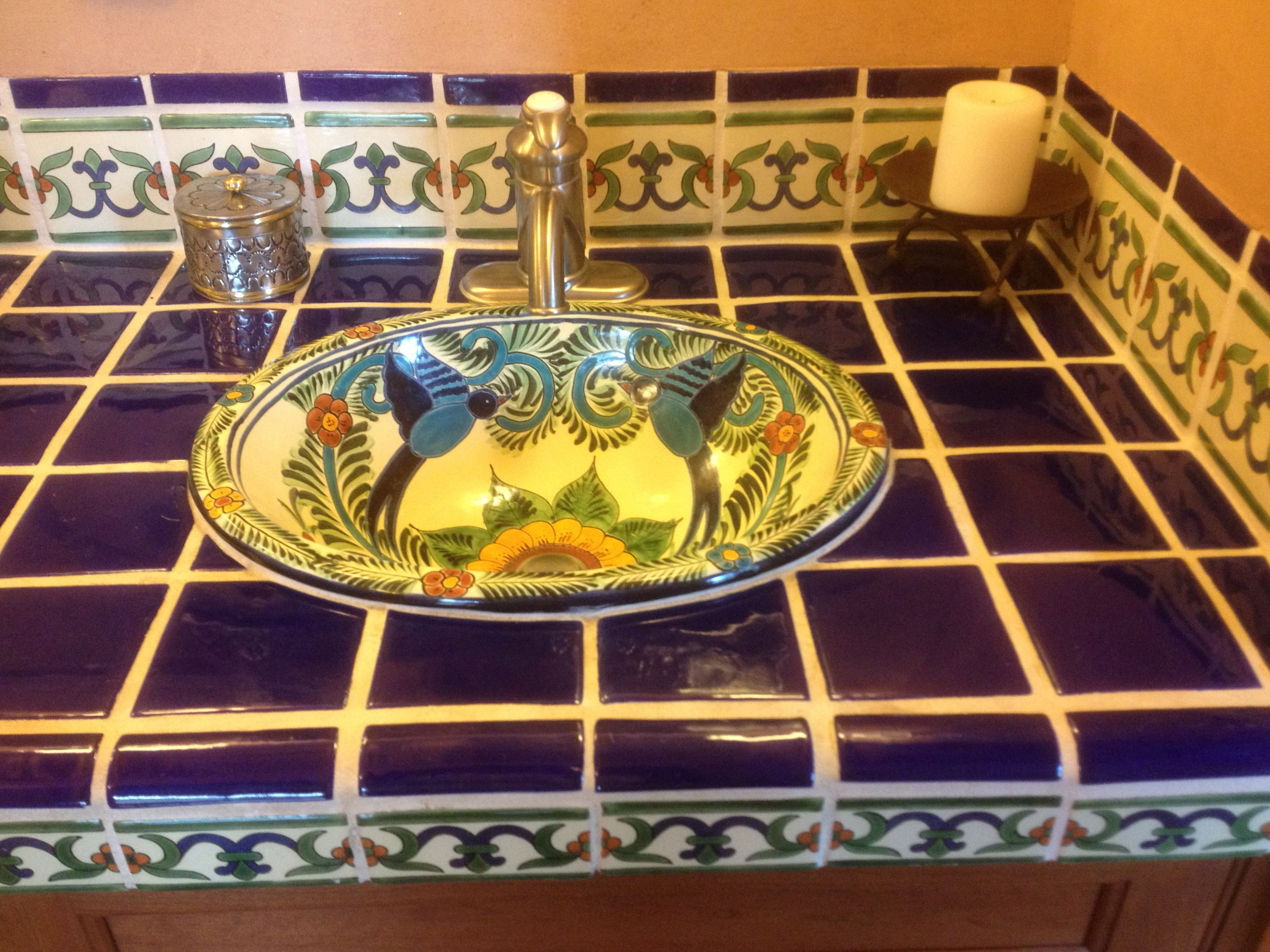 Superb Ideas For Using Mexican Tile In Your Kitchen Or Bath Countertop