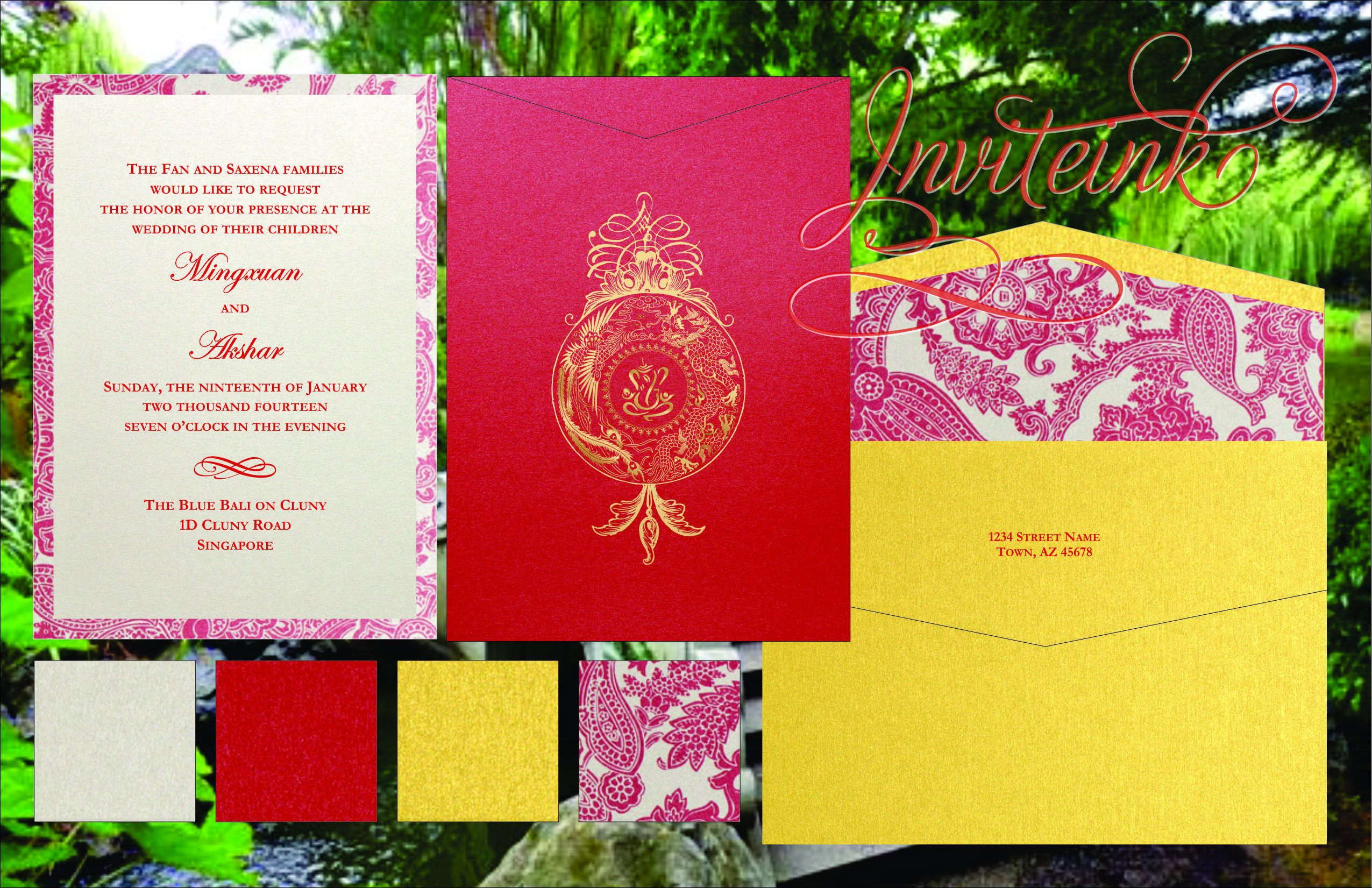 Chinese and Indian invite - I like the red and use of gold on top ...
