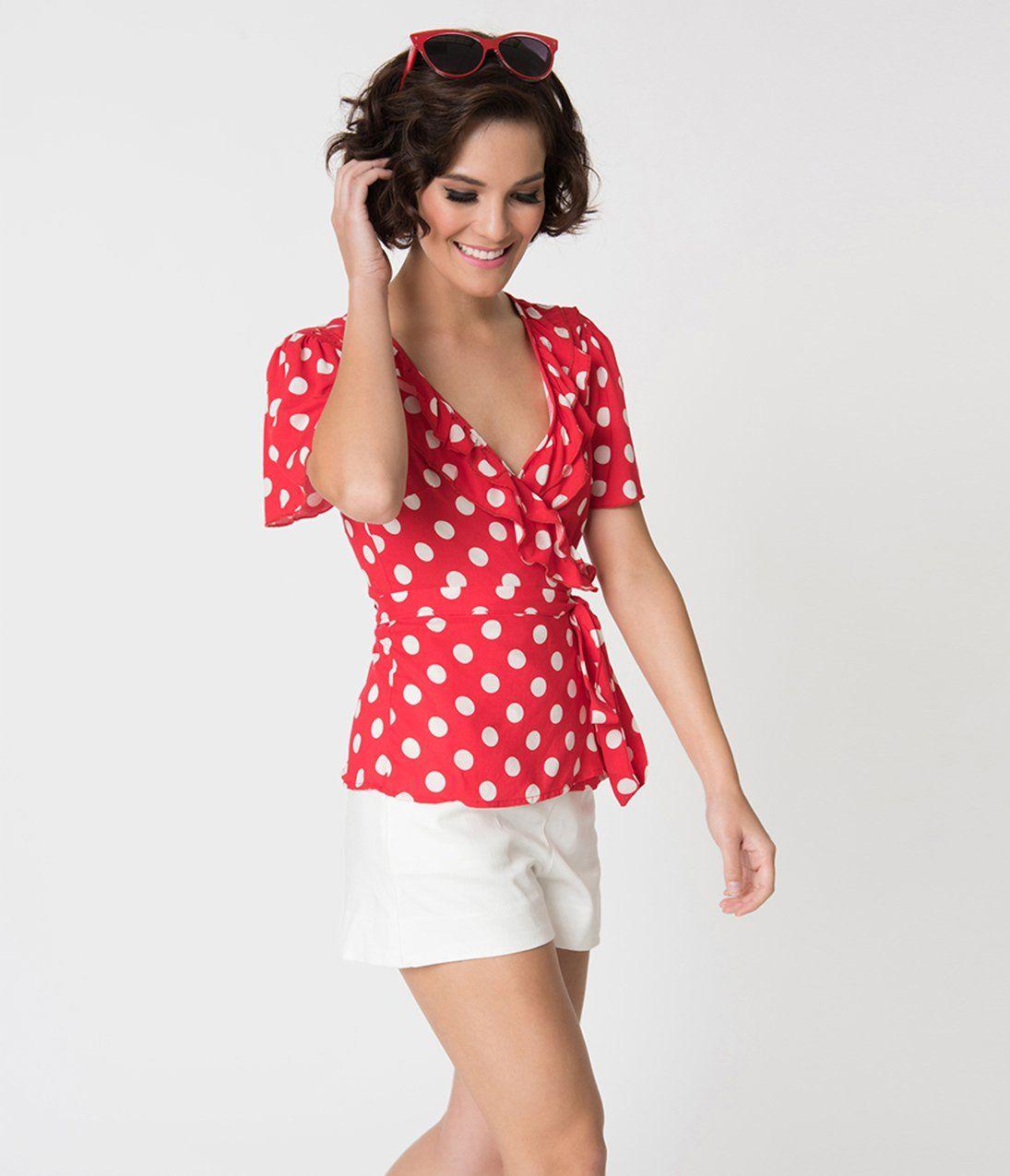 c0248e40bd4f Retro Style Red & White Polka Dot Ruffled Short Sleeve Wrap Blouse – Unique  Vintage