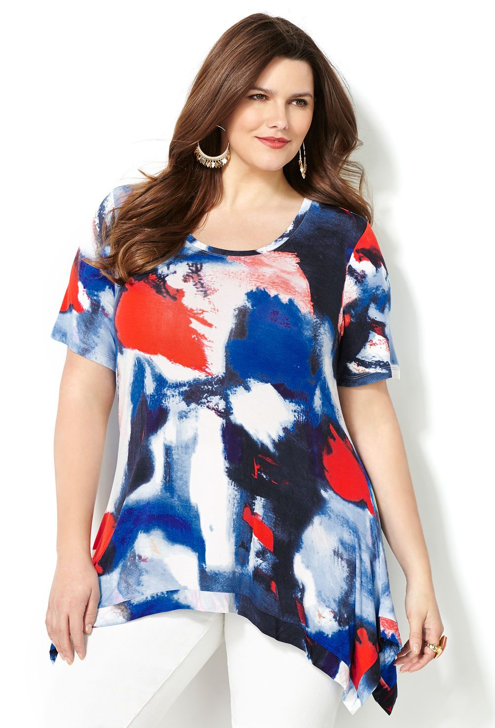 watercolor abstract sharkbite top-plus size top-avenue | sarah