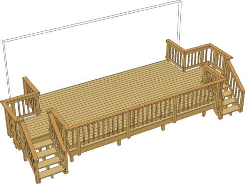 20 X 12 Deck W Two Stairs You Could Alter This One A Little And Put The Ramp In Instead Of One Of The Sets Of Steps Deck Porch Swing Outside