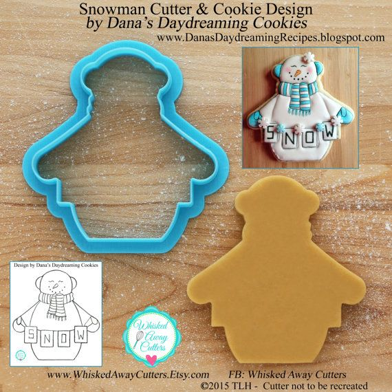 Snowman Cookie Cutter and Fondant Cutter by Dana's Daydreaming Cookies - **Guideline Sketch to Print Below**