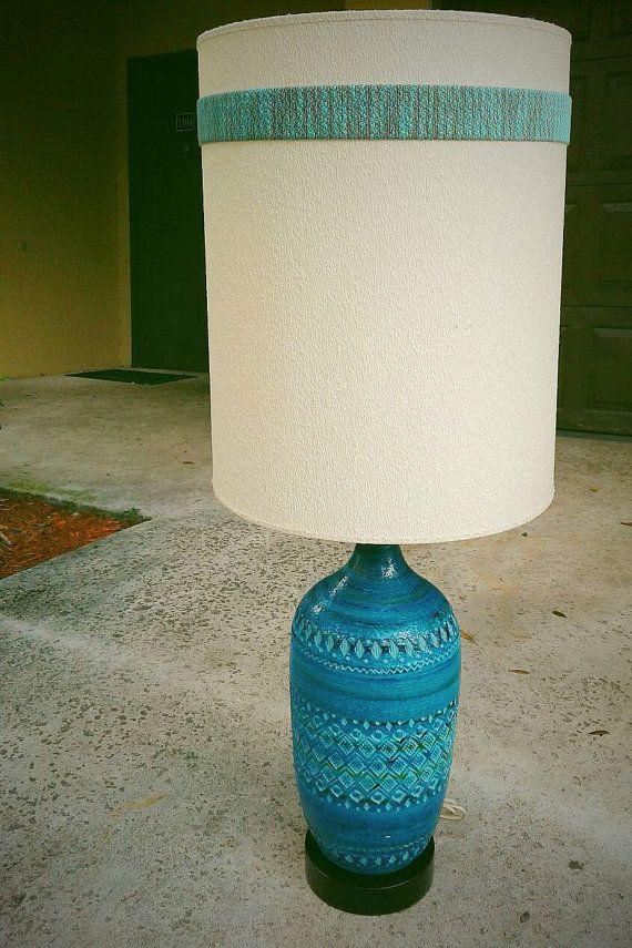 Mid Century Aldo Londi Bitossi Blue Rimini Ceramic Lamp Ceramic Lamp Mid Century Lamp Quirky Design