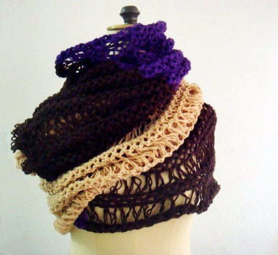Photo of Items similar to Chunky Knit Scarf Extra Large Color Block Brown Purple Mustard Yellow Lace Winter Wrap Scarf on Etsy