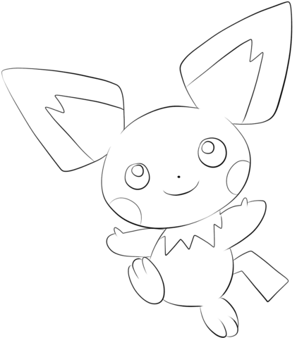 Click to see printable version of Pichu Coloring page | LineArt ...