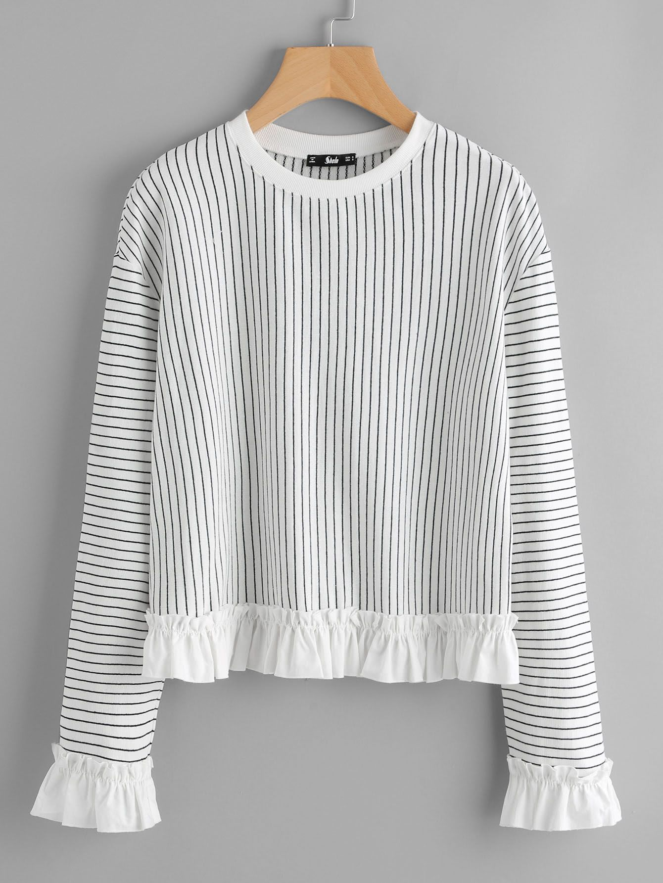 84e05a56593 SheIn offers Frill Trim Pinstripe Sweatshirt   more to fit your fashionable  needs. Inexpensive Fall Women s Shirts ...