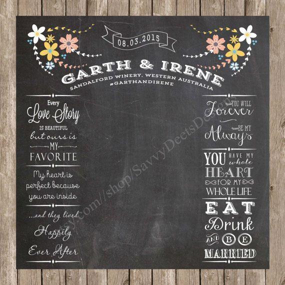 Complete Custom Chalkboard Wedding Photo Backdrop Printable - Photobooth Backdrop