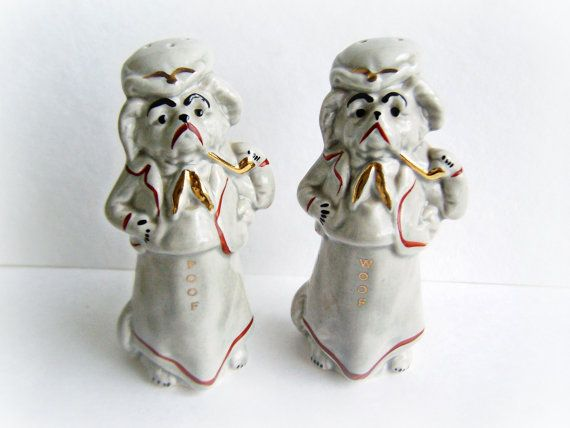 Vintage Salt and Pepper Shakers Woof and Poof by ShakeThatThang