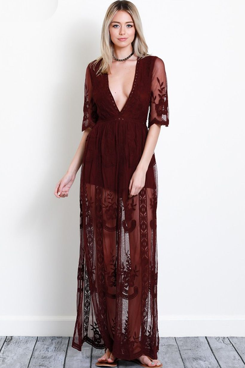 27f58a3aacb burgundy lace maxi dress