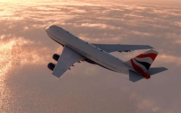 Lataa kuva matkustajakone, lento, sunset, lentokone ilmassa, air travel