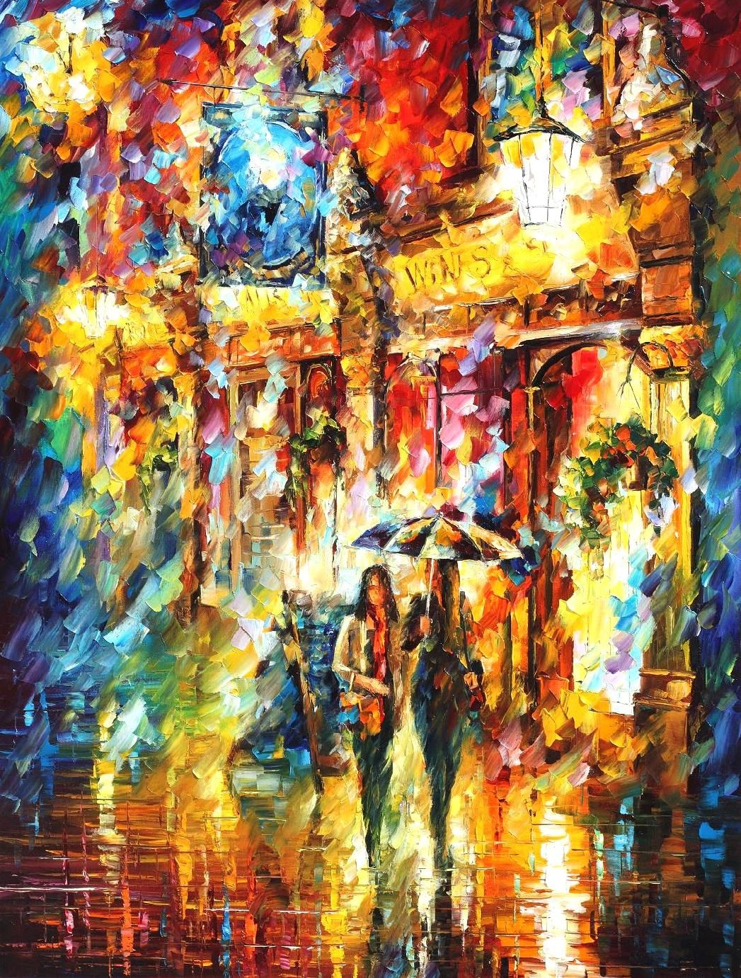 Best friends in the city palette knife oil painting on for Best mural paint