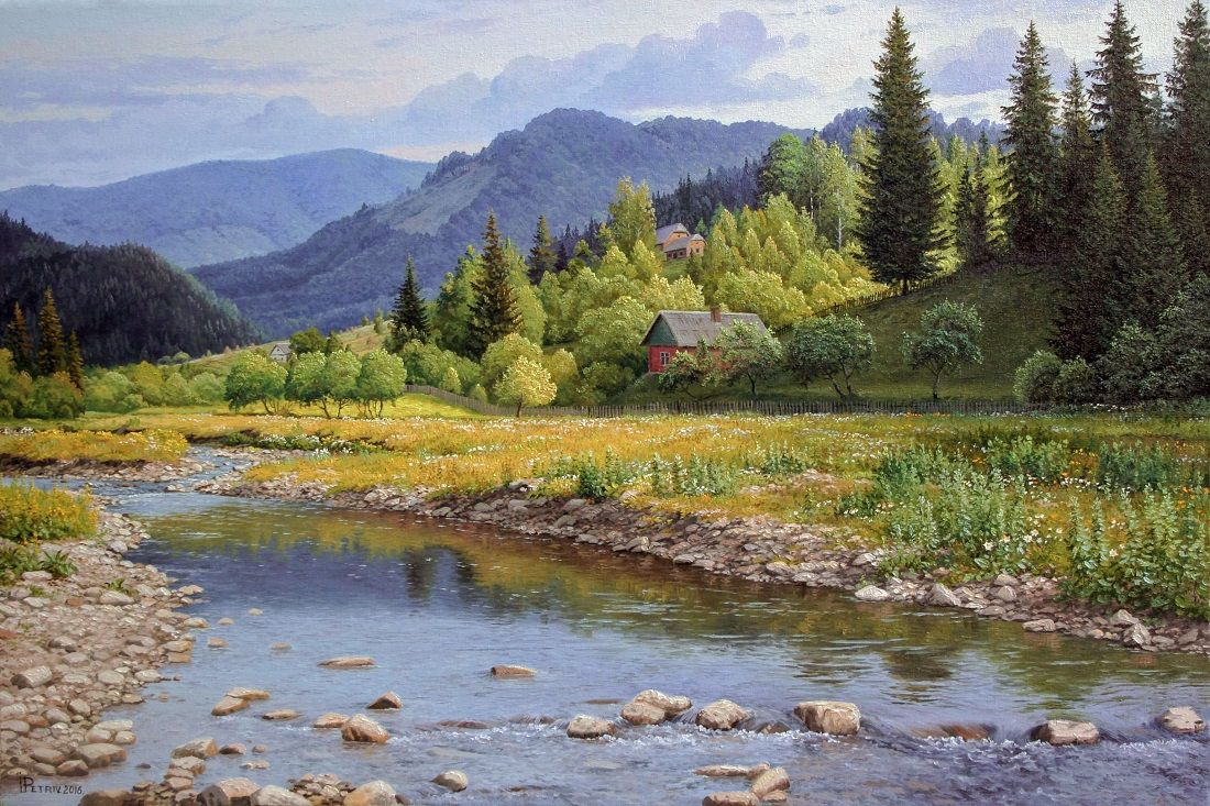Summer Mountain Landscape Mountain Landscape Handmade Art Mountain River Oil Mountains Art Village In The Mountains Oil On Canvas Realism Oil Painting Landscape Landscape Paintings Landscape