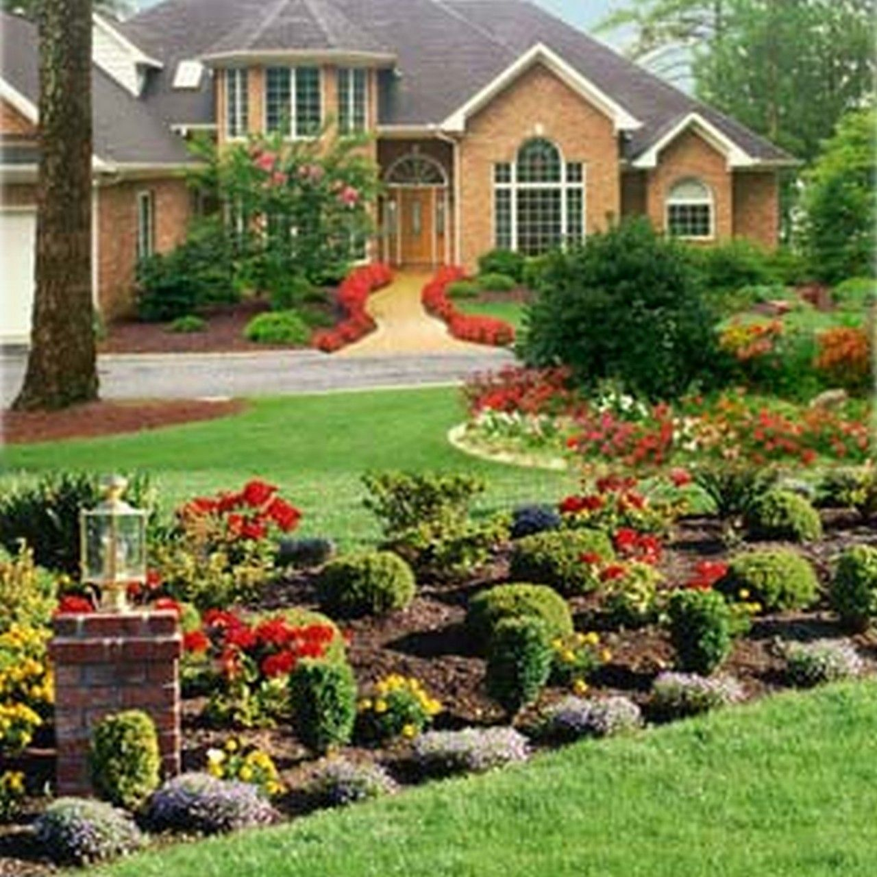 I like the way they lined the front walkway. Breathtaking Landscaping Ideas For Front Of House Blueprint Great Garden Landscaping Ideas Scenic Implements Balance, 7 Landscape Design Beauteous Landscaping Inspiration Scenic Landscape Ideas For Small Yard Mediterranean Style