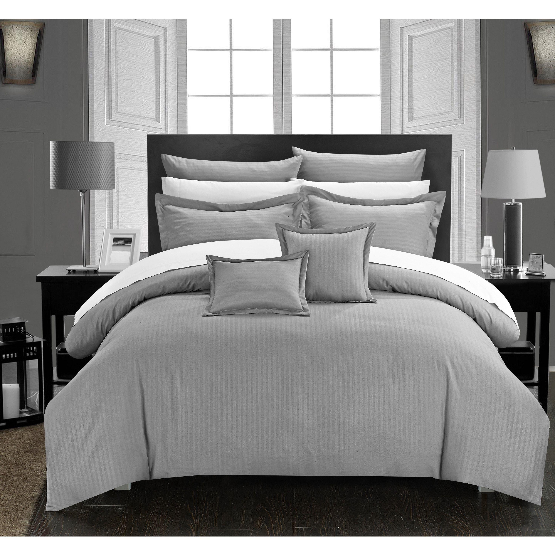Chic Home Keynes Down Alt Jacquard Silver Striped 7 Piece Comforter