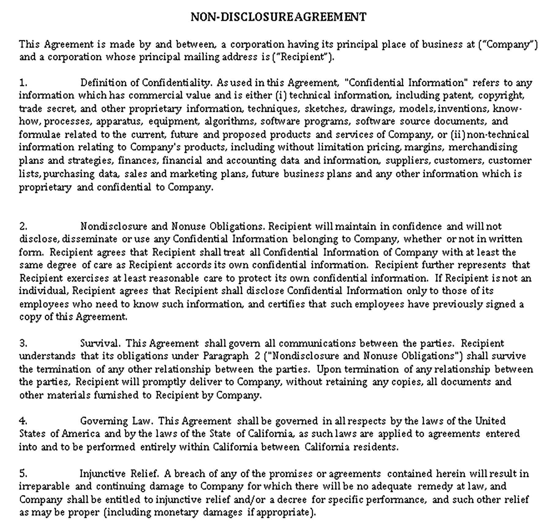 Sample Free Non Disclosure Agreement Form Template Non disclosure agreement template california