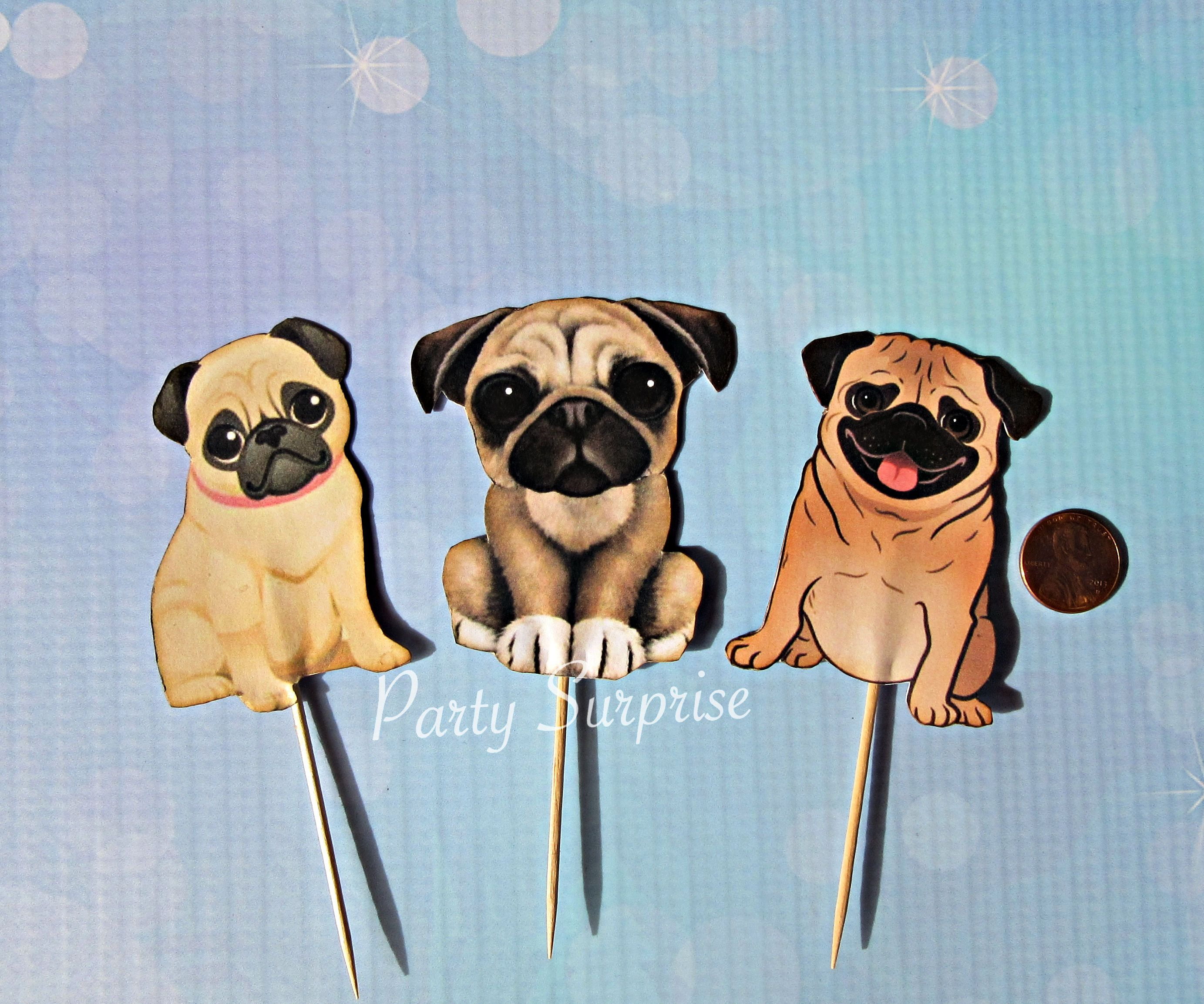 Pug Cupcake Toppers Dog Toppers Paw Print Birthday Puppy Dog