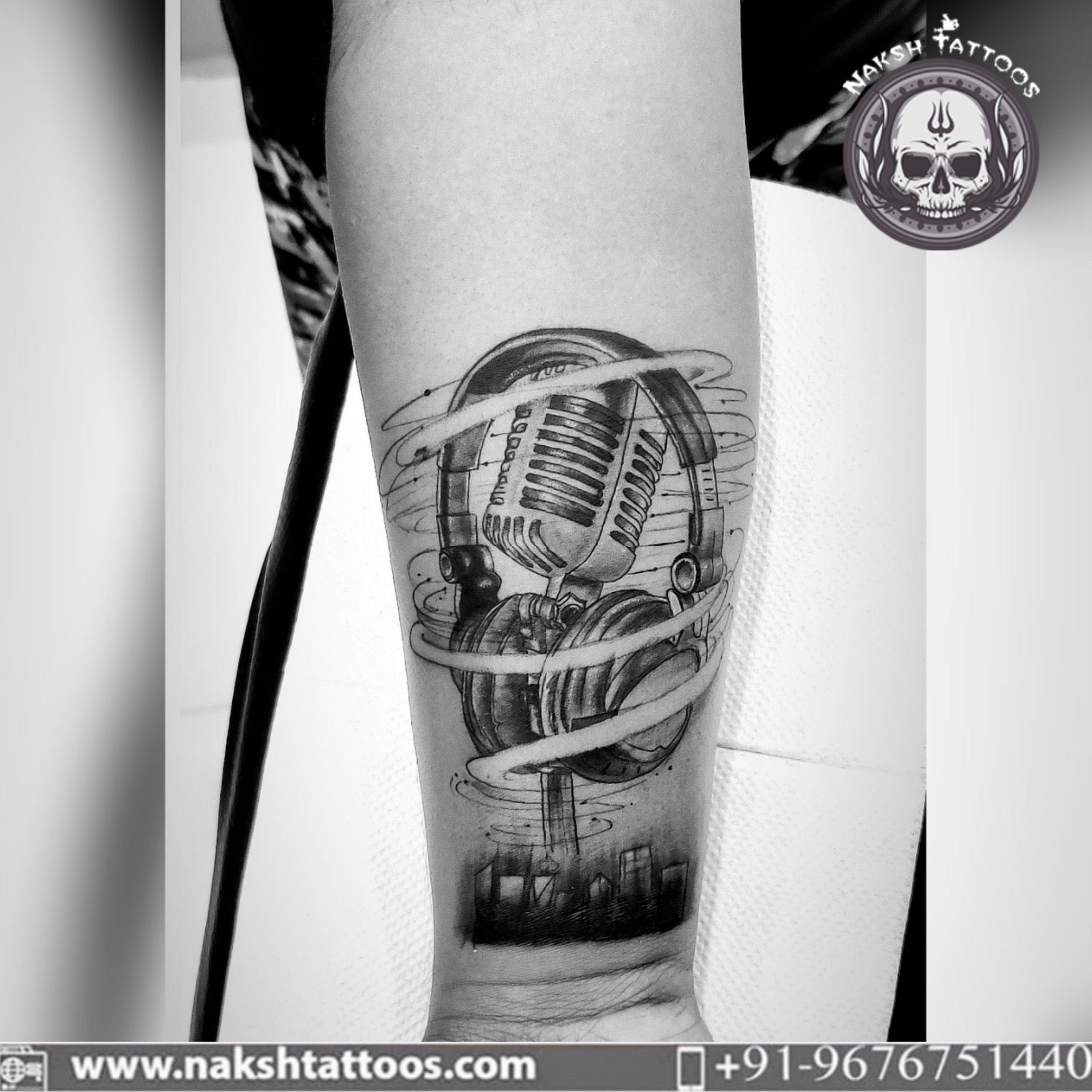 For more such amazing tattoos on your skin, book an appointment on 9676751440. #tattoo #art #abstract #protection #coverup #microphone #mic #music #headphones #asraonagar #madhapur #tattooinhyderabad #powerful #culture #quality #safe #hygiene #tattoostudio #tattooshop #tattoosinhyderabad #tattooshop #tattoosinasraonagar #tattoosinhitechcity #sketch #custom #tattoos #happycustomer #hyderabad #india