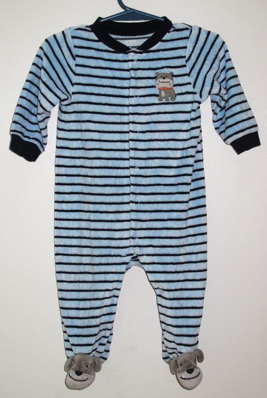 95fe6bd0640e Carter s light blue and navy striped velour footsie pajama - size 9 ...