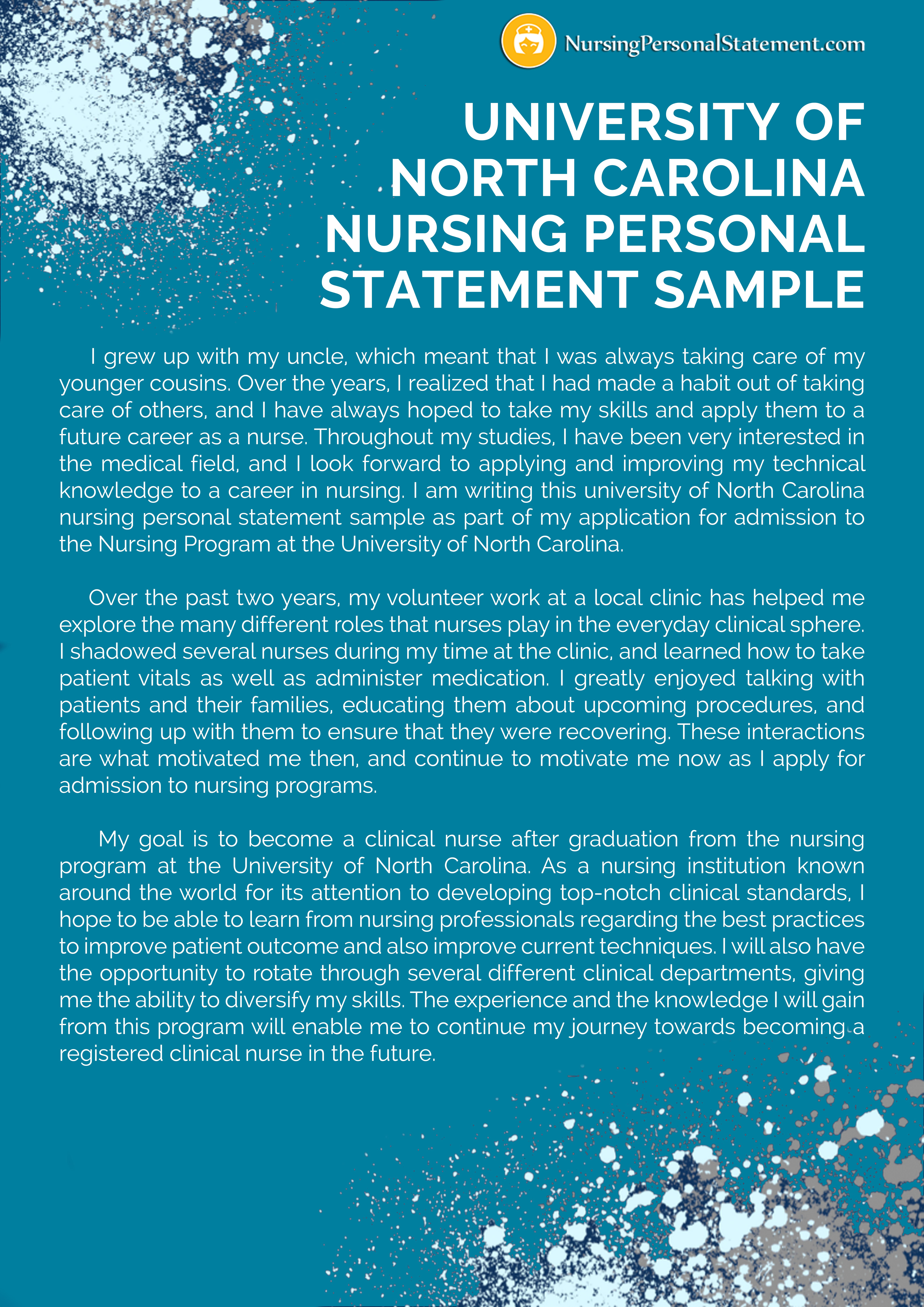 University Of North Carolina Nursing Personal Statement Sample Nurse American Law