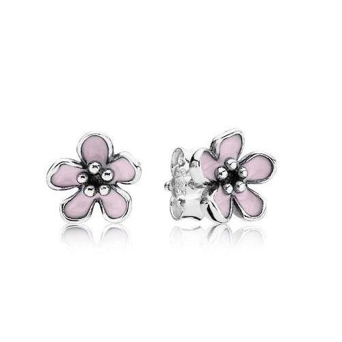 Pendientes De Plata Con Una Flor Rosa Por 39 Pandora Earrings Studs Pandora Earrings Flower Earrings Studs