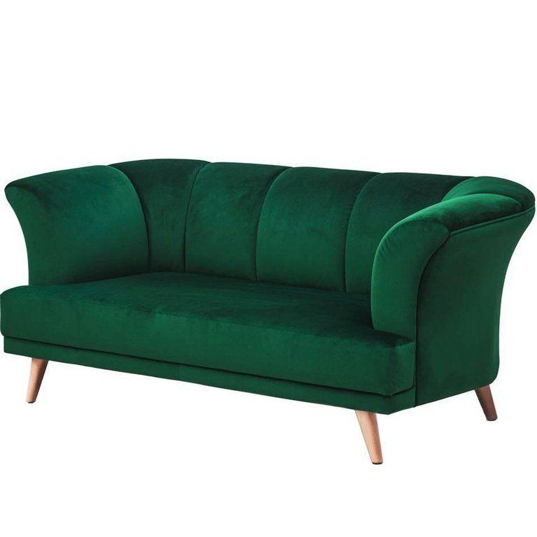 Art Deco Style Emerald Velvet Sofa