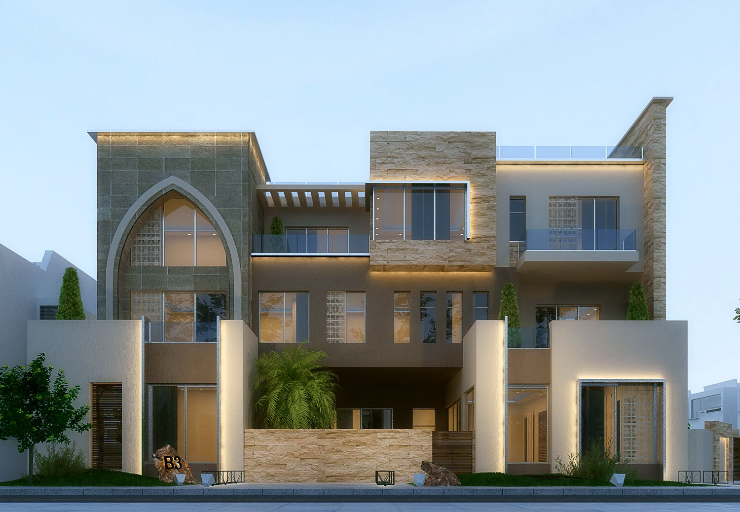 exterior house designs 3d max. House Modern villa in kuwait  Using 3ds max vray and photoshop
