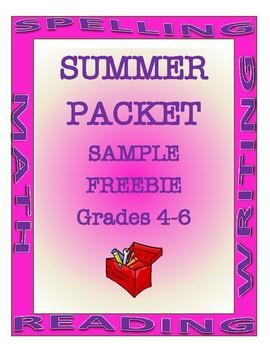 Summer Packet Grades 4-6 Sample FREEBIE | Beginning of the