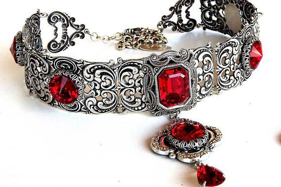 2bba6c336dd0 Red Gothic Choker - Gothic Jewelry - Victorian Swarovski Bridal Choker -  Bridal Necklace - Red